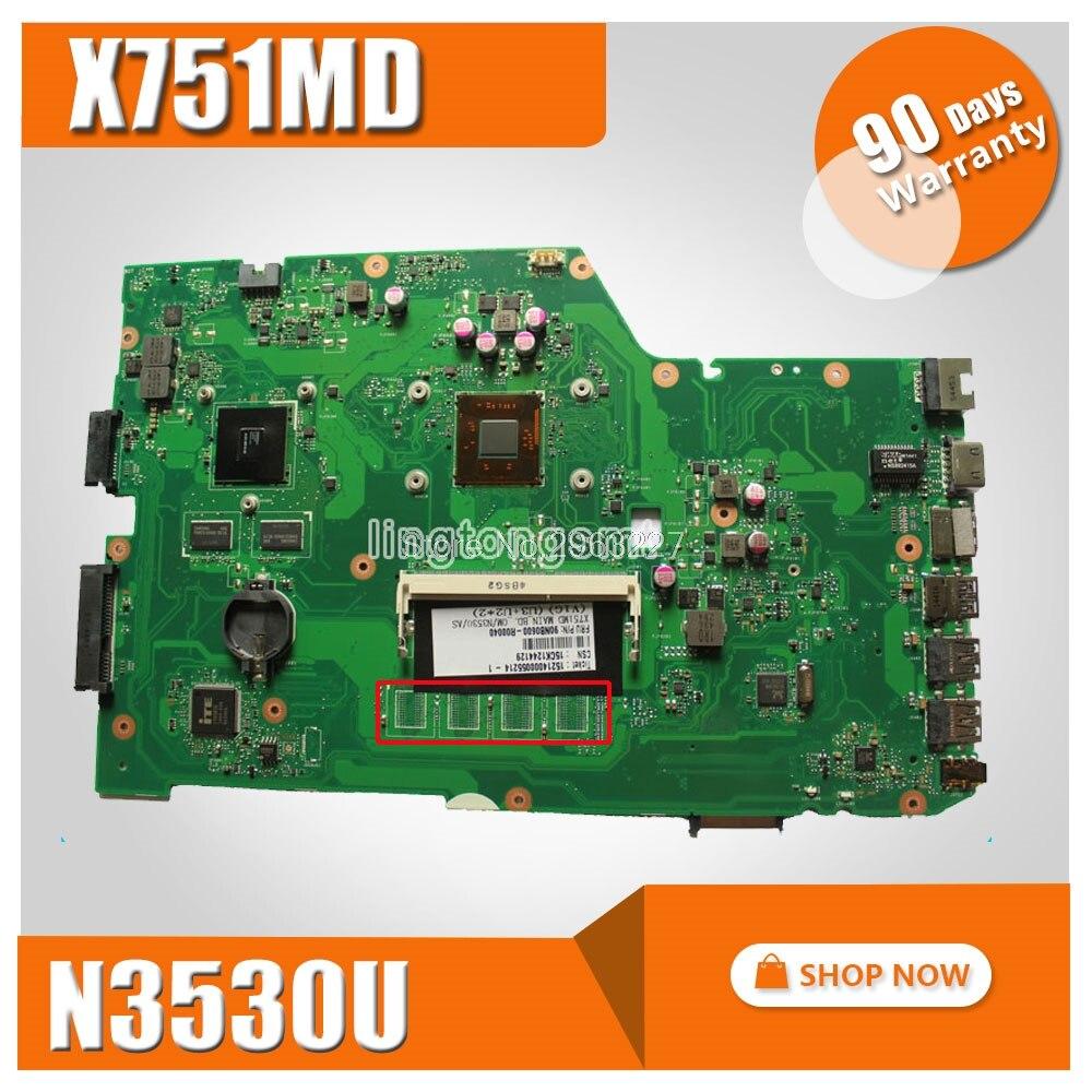 r752md motherboard x751md rev2 0 mainboard k751m k751ma x751ma r752m processor n3530 with 4g memory on board gt 820m 1g tested X751MD Motherboard REV2.0 GT 820M N3530 For ASUS X751MD Laptop motherboard X751MD Mainboard X751MD Motherboard test 100% OK
