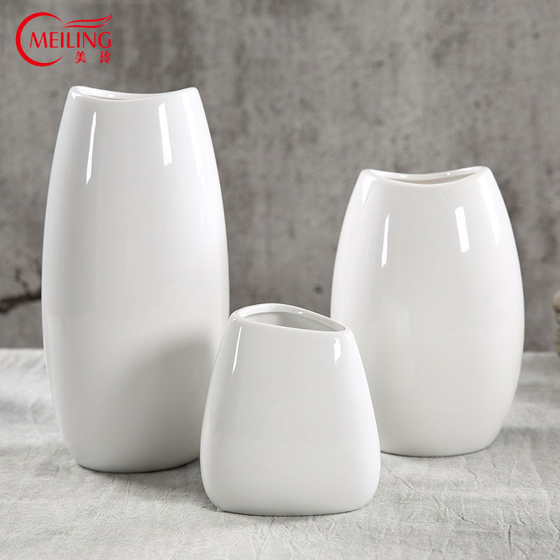 Aliexpress Buy Meiling Modern White Glazed Ceramic Vase