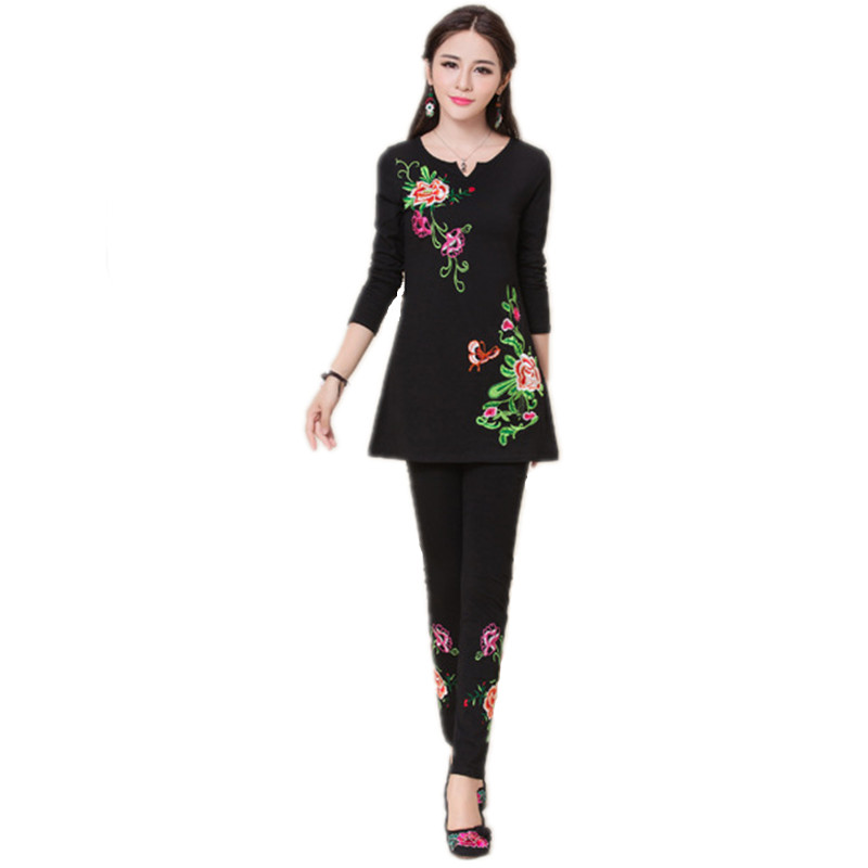 2017 Spring Summer Embroidery Two Piece Set Cotton Women ...