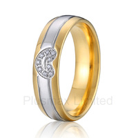 Best China factory amazing selection of gold color heart shape titanium wedding band rings for couples