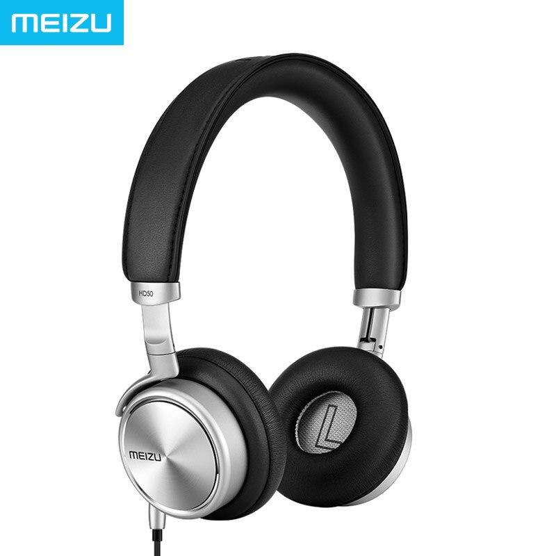 ФОТО Original Meizu HD50 Headphones Headhand HIFI Aluminium alloy shell Less than 0.5% of low distortion Superfine fibre diaphragm