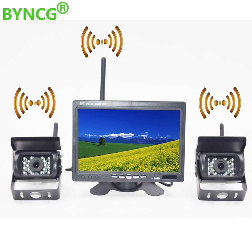 BYNCG Wireless Car Reverse Reversing Dual Backup Rear View Camera for Trucks Bus Excavator Caravan RV Trailer with 7 Monitor gision 12v 24v wireless car reverse reversing backup rear view camera for trucks bus excavator caravan rv trailer with monitor