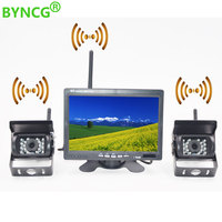 BYNCG Wireless Car Reverse Reversing Dual Backup Rear View Camera for Trucks Bus Excavator Caravan RV Trailer with 7 Monitor