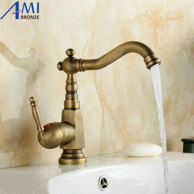 Antique laiton robinets de cuisine pivotant évier salle de bain bassin robinet mitigeur 9061A