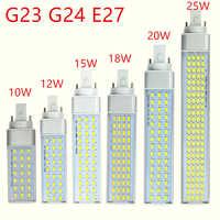 G23 g24 e27 bombilla led 10W 12W 15W 18W 20W 25W 5730 luz blanca cálida/blanca fría luz de enchufe Horizontal de 180 grados