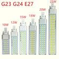 G23 g24 e27 lâmpada led 10 w 12 15 18 20 25 5730 luz branco quente/branco fresco spotlight 180 graus horizontal plug luz