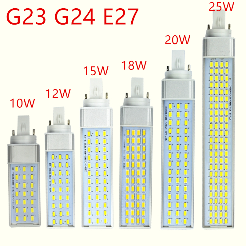 g23 g24 e27 <font><b>led</b></font> <font><b>lamp</b></font> bulb 10W 12W 15W 18W <font><b>20W</b></font> 25W 5730 Light warm white/Cool white Spotlight 180 Degree Horizontal Plug Light image
