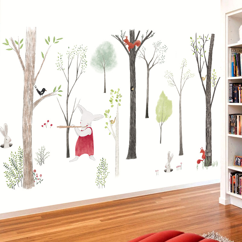 Large Music forest Wall Sticker Cartoon Home Decor DIY bedroom kids room Nursery Background Mural art Decals poster sticker