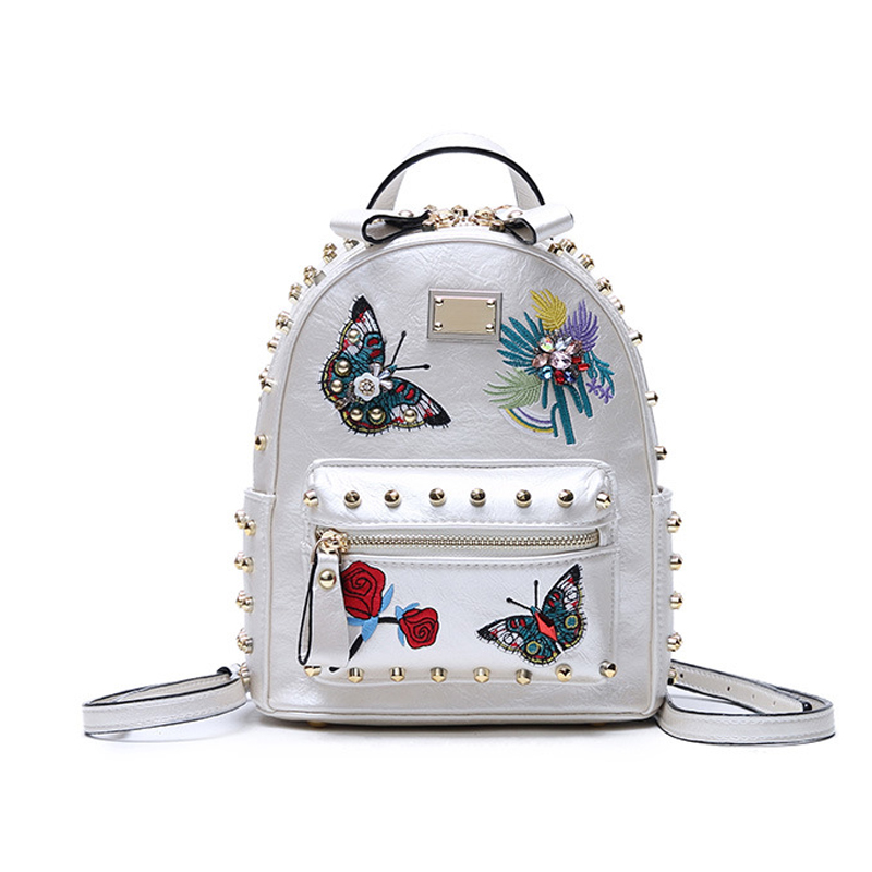 2018 new butterfly yellow rivet shoulder bag butterfly flower embroidery backpack fashion leisure travel bag school bag Y350