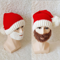 ebfb72b8068 Winter Hats with Brown Beard for Kids and Adults Red Kriss Kringle Hats  Knitting Crochet Beanie