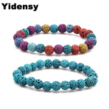 Yidensy 10 Colors Lava Stone Pärlor Armband Essential Oil Perfume Diffuser Multicolor Svart 8mm Strand Armband Yoga Smycken