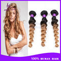 7A Ombre Malaysian Virgin Hair Loose Wave 4 Bundles Cheap Two Tone T1B/27 Ombre Human Hair Weave Remy Ombre Hair Extensions Wavy