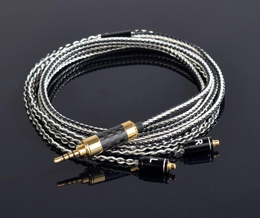 Fait à LA main bricolage mis à jour 8 noyaux 6N 2.5mm équilibré cuivre plaqué argent MMCX câble de ligne de casque pour SE525 SE535 SE846 UE900 LA DT2