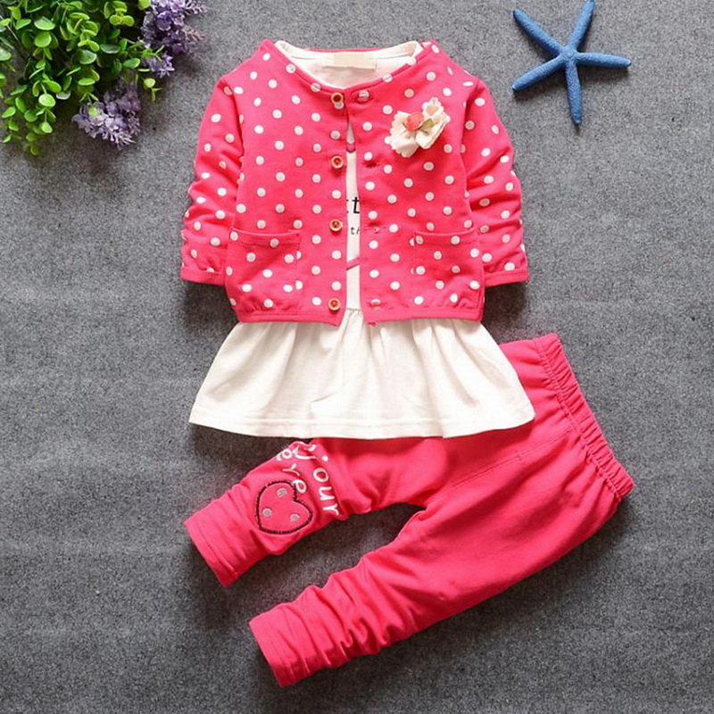 Kids Spring 2017 New Fashion Korean Wave Point Clothing Set Baby Girls Cute Cotton Clothes Suit Childern Cartoon 3pcs Suit kids spring 2017 new fashion korean wave point clothing set baby girls cute cotton clothes suit childern cartoon 3pcs suit