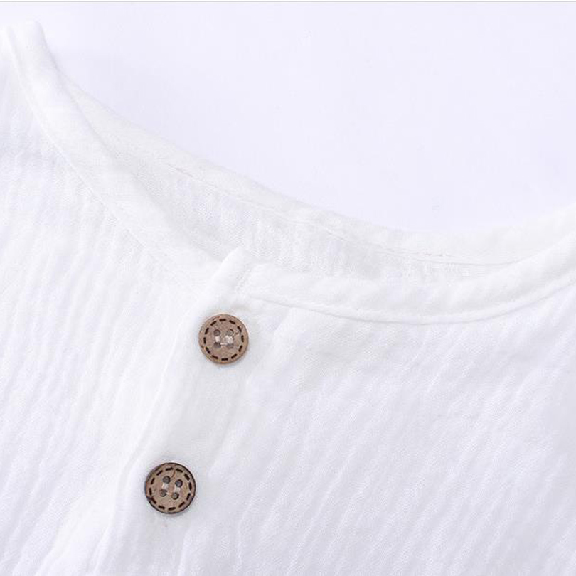 Купить с кэшбэком Linen 2020 Cotton Baby Boy Girl Summer Autumn T Shirts Toddler Comfortable Top Tee Children Clothing Kids Button 80-130cm Height