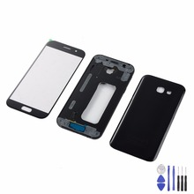 For Samsung A7 2017 A720 A720F Housing Metal Middle Frame+Battery Glass Back Cover+LCD Touch Screen Panel Glass+Tools