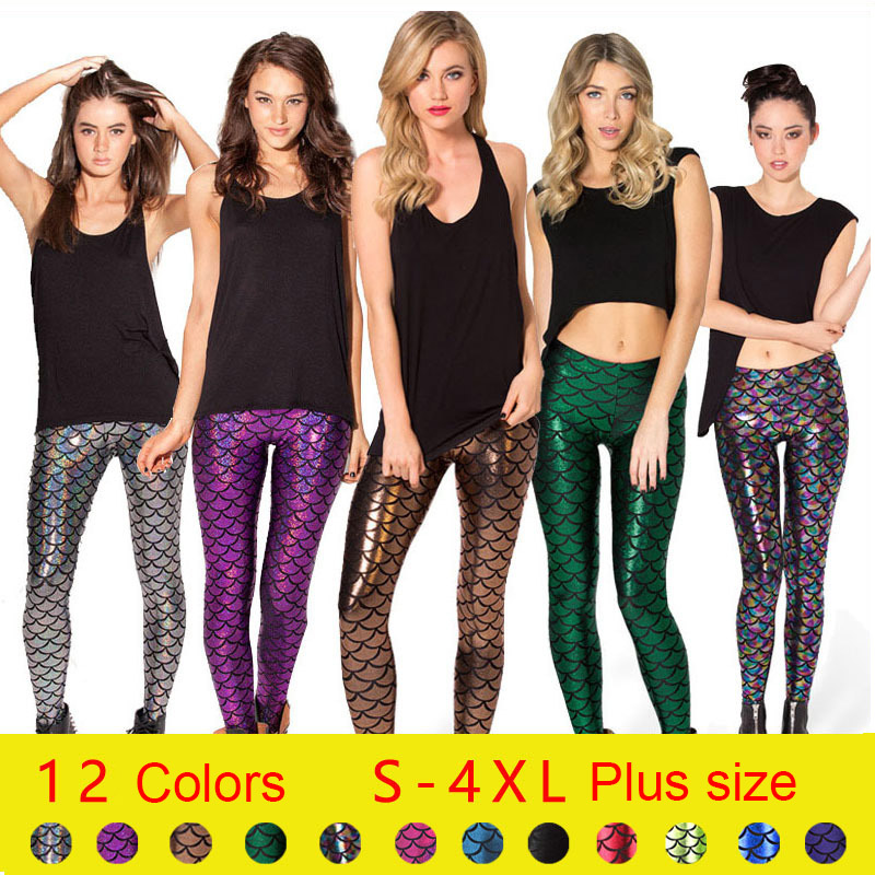 DHL 100pcs New Sexy Girl Women 12 Colors Shiny Mermaid Scale 3D Prints Workout Walking Elastic Fitness Leggings Pants Plus Size