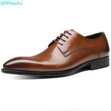 Italian Mens Genuine Leather Shoes Luxury Brand Men's Dress Shoes Business Shoes Oxfords Lace Up Pointed Toe Flats grimentin brand uk fashion mens dress shoes genuine leather black pointed toe luxury men wedding shoes male flats for business