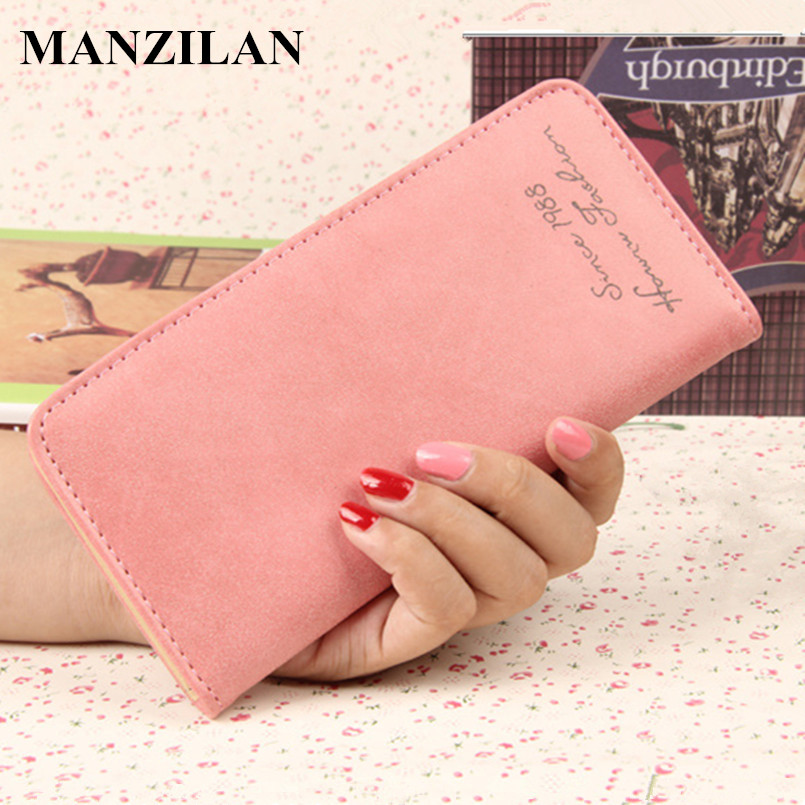 Vintage Matte Leather Women Long Wallet Ladies Purse large capacity Card Holder Bags Gift for women candy color Wallets 2017 NEW