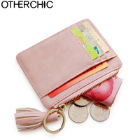 Nubuck Leather Mini Tassel Credit Women Card Holder Cute ID Key Card Holders Girl S Fringe