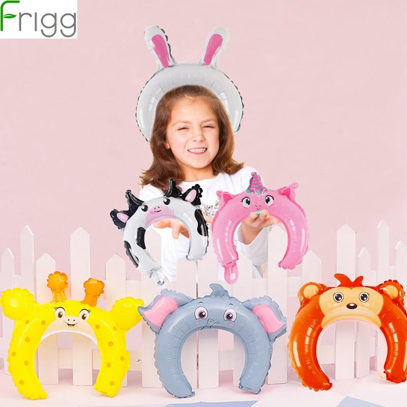 10Pcs Cartoon Animal Aluminum Foil Balloons Kids Jungle Safari Party Decoration Birthday Cute Balloon Headband Favors