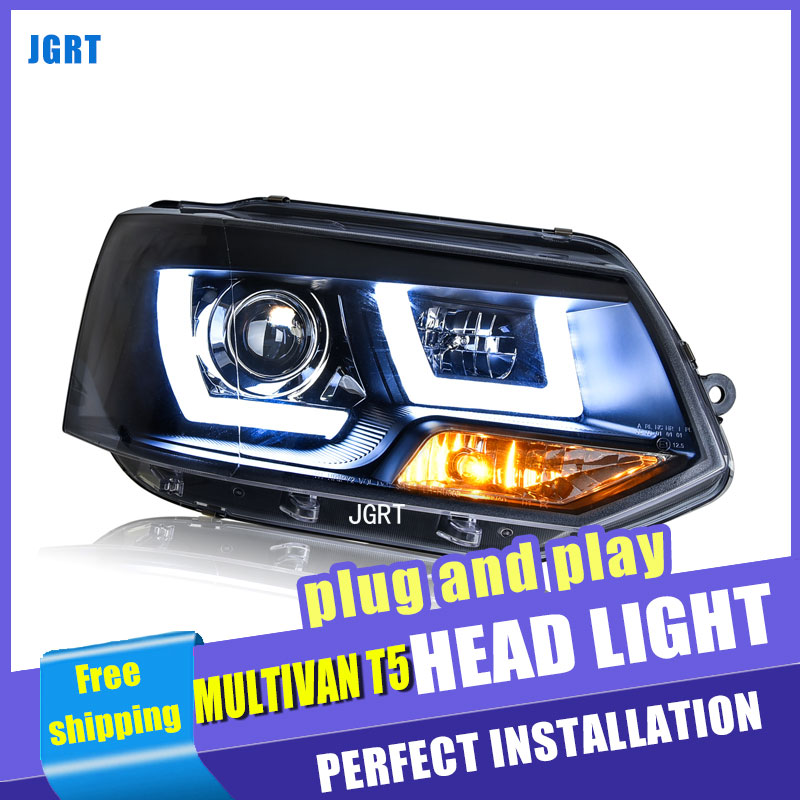 Car Styling For Multivan T5 headlight assembly 2012-2016 For T5 LED head lamp Angel eye led DRL front light h7 with hid kit 2pcs