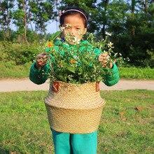 S / M / L / XL / XXL Χειροποίητο Rattan Κοιλάδα λουλουδιών Λουλούδι καλαθιού Ρακέτα λαβή Φυτώρια Πατάτες Οργάνωση άχυρο Vase Garden Home Decor