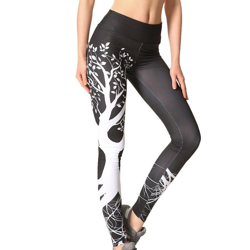 Women Running Pant 3D Print Tree High Waist Skinny Sports Legging Gym Fitness Stretched Long Athleisure Pant Plus Size