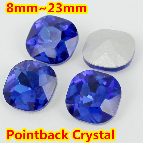 Sapphire Square Shape Crystal Fancy Stone Point Back Glass Stone For DIY Jewelry Accessory.8mm 10mm 12mm 14mm 18mm 23mm