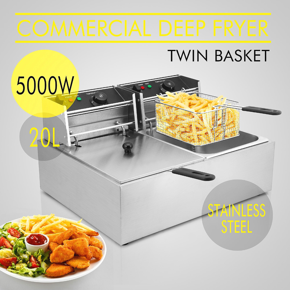 Deep Fryer Machine Twin Basket 5000W 20L Electric Commercial Deep Fryer Twin Basket Steel Benchtop Kitchen Tool Deep Fryer Machine Twin Basket 5000W 20L Electric Commercial Deep Fryer Twin Basket Steel Benchtop Kitchen Tool