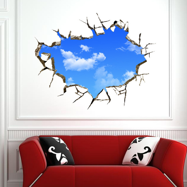 3D sticker Wall Sticker 50*70CM landscape blue sky White Cloud poster quarto Bedroom wall decals stickers muraux vinilos paredes