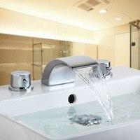 Banyo Musluk, gelişmiş Modern şelale çağdaş Krom Pirinç Banyo havzası evye Mikser şelale Dokunun Musluk