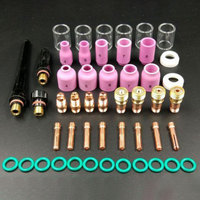 49pcs Argon Arc Practical Accessories Gas Lens+#10 Pyrex Glass Cup Welding Torch Kit Set Easy Use For WP TIG 17/18/26