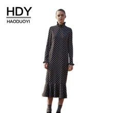 HDY Haoduoyi autumn Simple Temperament Retro Lady Sweet Cold Wind Wave Lotus Leaf Collar Elegant and Slender 2019 Women Dress