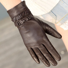 Brand women leather gloves warm winter lady Genuine fashion wrist lace sheepskin driving