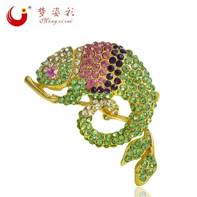 MZC Sıcak kertenkele Femme Kızlar Için Kristal Rhinestone Broşlar - Kostüm mücevherat