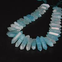 15 5 Strand Natural Blue Agates Faceted Slice Double Point Loose Beads Raw Gems Stone Stick