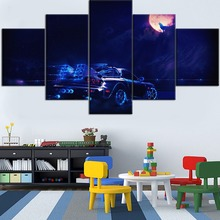 5 Pieces HD Top-Rated Printing  Painting Neon Car Driving To The Moon Wolf Type Poster For Modern Decorative Bedroom Framework