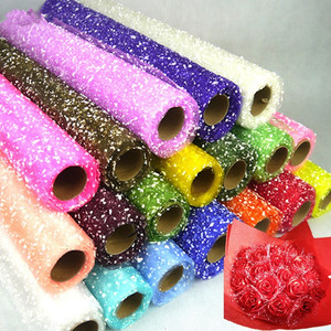 50cm 4Yards/roll Snowflake Tulle Yarn Flowers Packaging Wrapping Gift Packing Materials Wedding Decoration Party Supplies(China)
