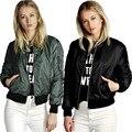 Mujeres bomber jacket nuevo 2016 señoras abrigo corto chaquetas de mosca femenina ropa roja negro poli mezcla de algodón verde del ejército delgada S-XL