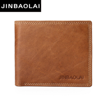JINBAOLAI cow leather original brand male wallet fashion double suture design bifold wallets for men hight quality leather walet