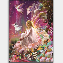 DIY flower fairy diamond painting dimaond embroidery full drill  catdiamond mosaic round