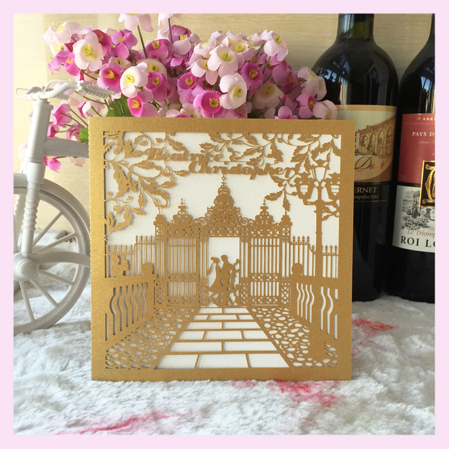 12pcs Lot Fashion Wedding Invitation Cardslaser Cut Frame Church Style Romantic Invitations