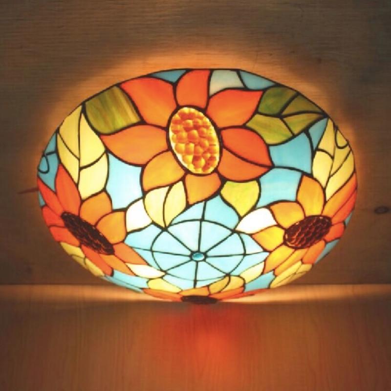 Vintage Novelty Handmade Tiffany Glass Led E27 Ceiling Light for Living Room Bedroom Aisle Balcony Dia 30/40cm 1630 tiffany glass ceiling mediterranean style balcony aisle lighting dia 15 cm h 15 cm