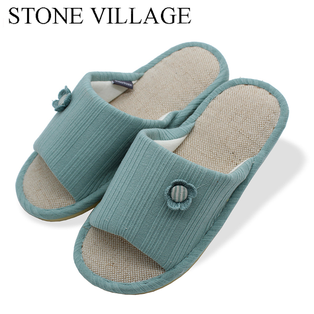 STONE VILLAGE Lovers Cotton Slippers Women Summer Indoor Home ...