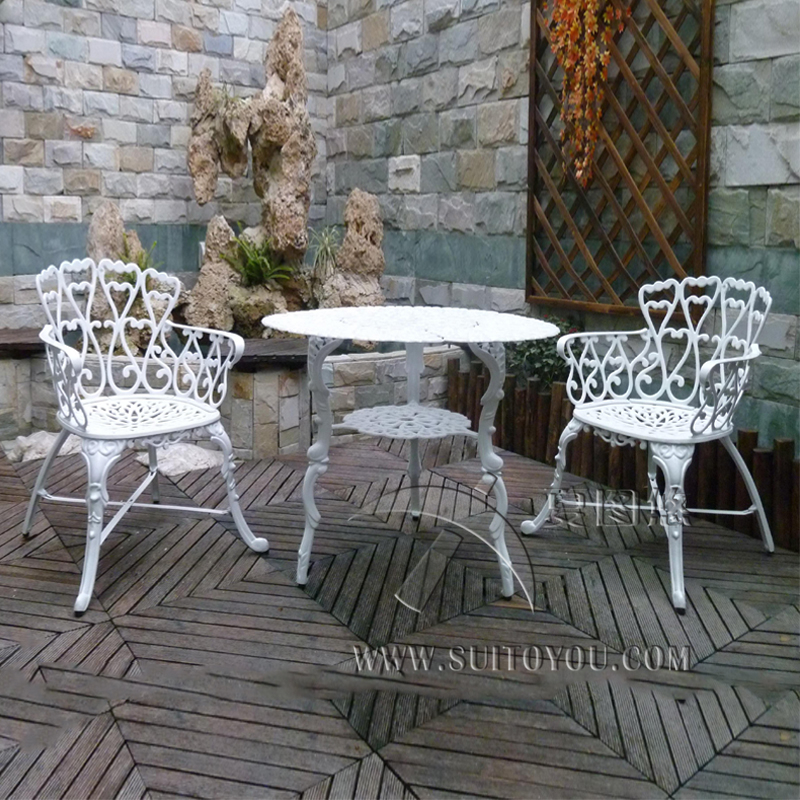 3 Piece Cast Aluminum Coffee Set Patio Furniture Garden Furniture Outdoor  Furniture (white)