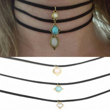 3 Pcs Sets Round Opal Stone Chokers Necklaces Pendants Maxi Necklaces For Unisex Hot-selling Necklace Sets X154