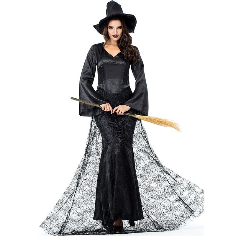 Adult Women Halloween Gothic Devil Scary Witch Costume Dark Black Spider Cobweb Robe Satin Lace Floor Dress For Ladies M-2XL