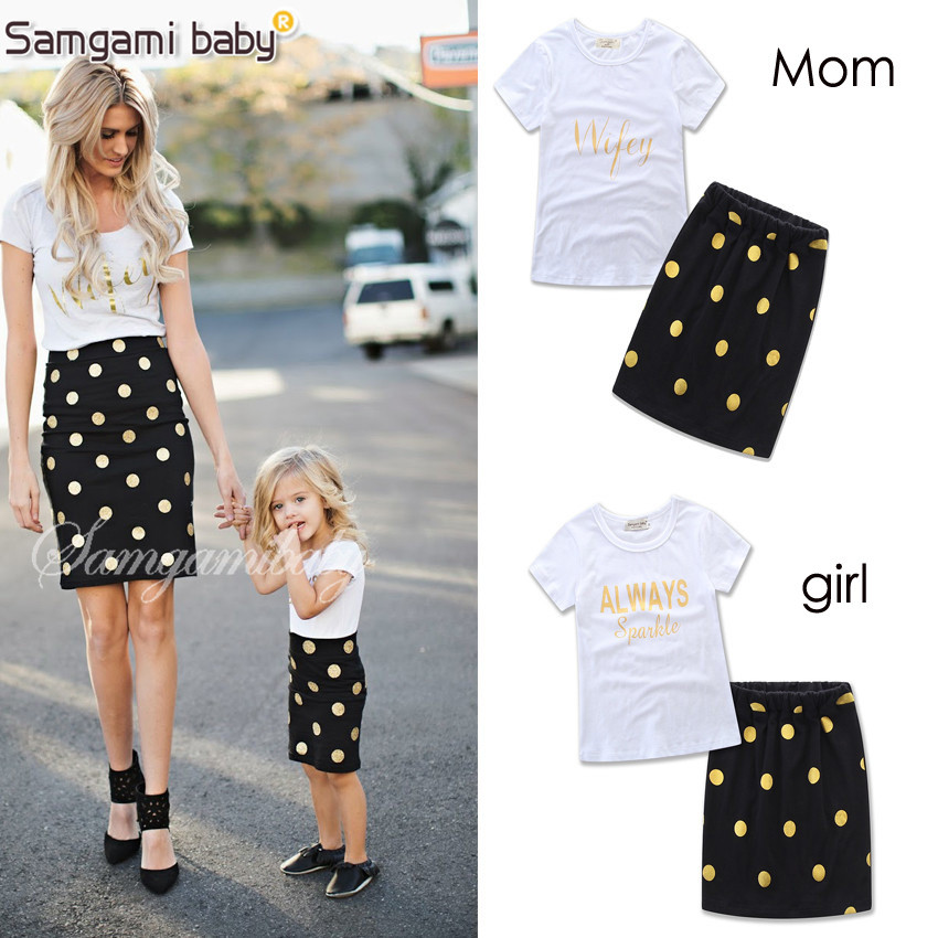 SAMGAMI BABY Parents and Children Outfit Letters Printing Cotton T-shirt+Polka Dot Pattern Tight Skirt Summer Mom And Kids Love single breasted polka dot pleated skirt