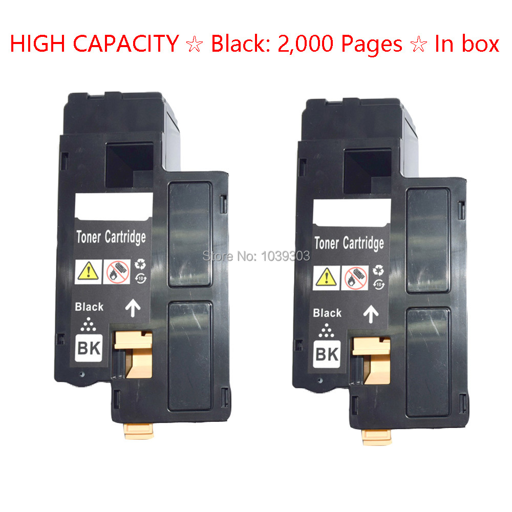 2 PK Black Toner Cartridge For Dell Laser 1250 1355cn C1760nw C1765nf C1765nfw